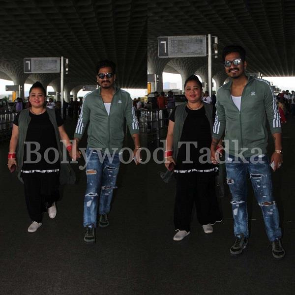 bharti singh spotted at airport with his husband haarsh limbachiyaa