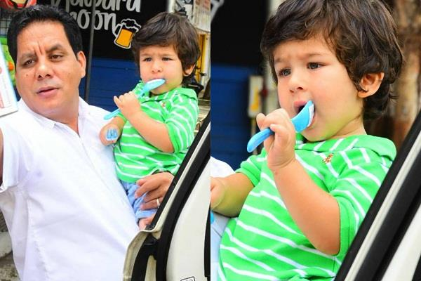 taimur ali khan spotted at bandra with caretaker