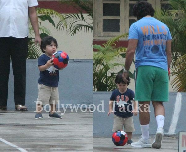 taimur seen playing football with father saif