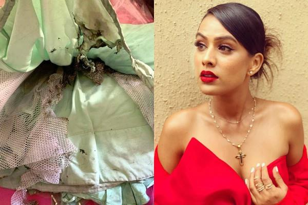nia sharma lehenga catches fire at diwali party