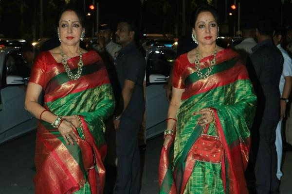 actress hema malini looks gorgeous at amitabh bachchan diwali party