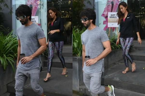 shahid kapoor and mira rajput spotted outside the gym