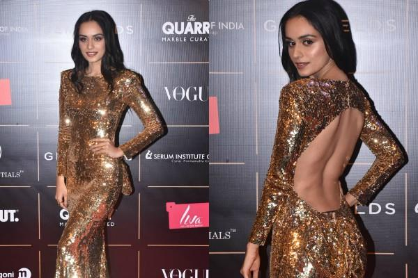 manushi chillar looks gorgeous in backless dress during awards night
