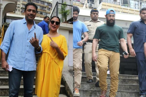 aamir khan kiran rao lara dutta studded voting cast in mumbai