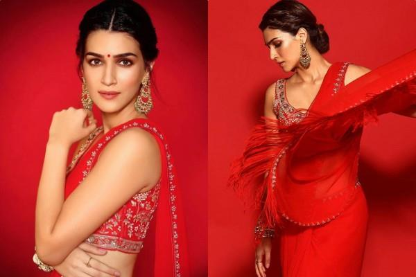 kriti sanon looks gorgeous in red saree during promotion