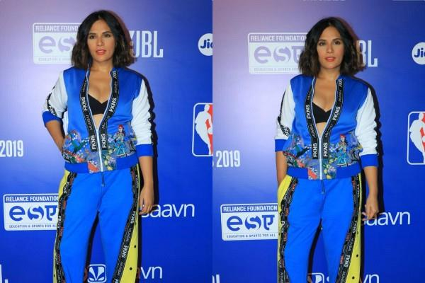 richa chadha sporty look at nba india games event