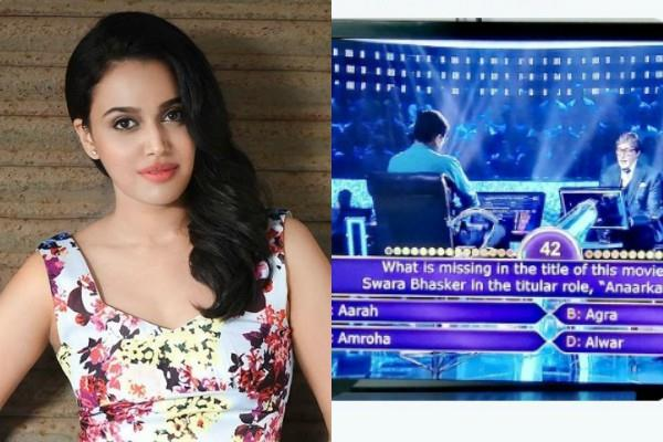 swara bhaskar feels happy as amitabh bachchan asks question in kbc show
