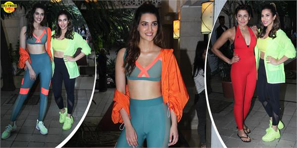 sophie choudry kriti sanon flaunt her toned body outside yasmin karachiwala gym