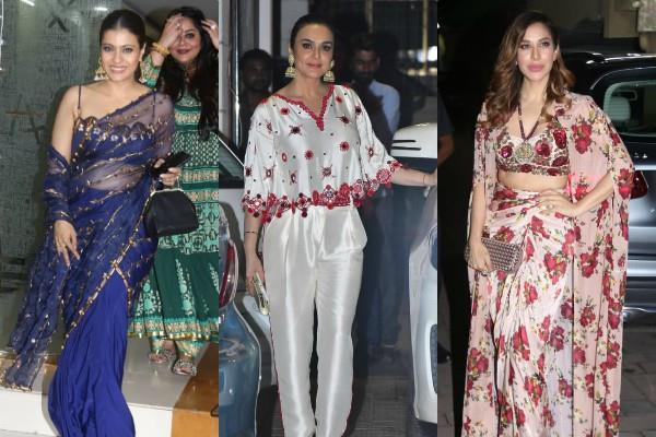 actress kajol preity zinta and sophie choudry spotted at diwali party