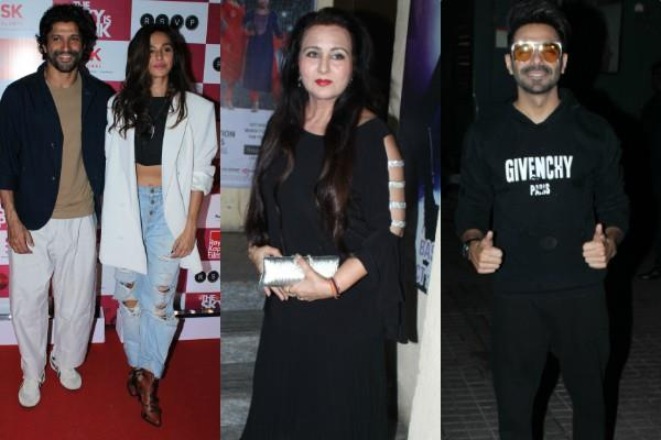 farhan shibani and others attended the screening of the sky is pink movie