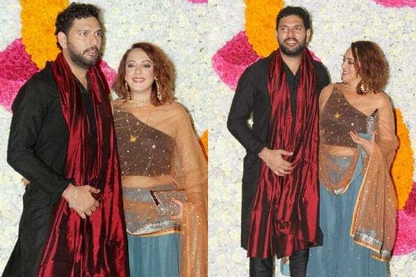 hazel keech attend diwali party with hubby yuvraj singh