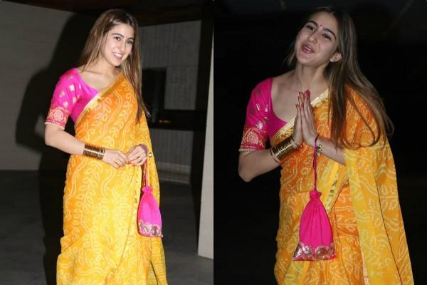 sara ali khan looks beautiful as she attends jackky bhagnani diwali party