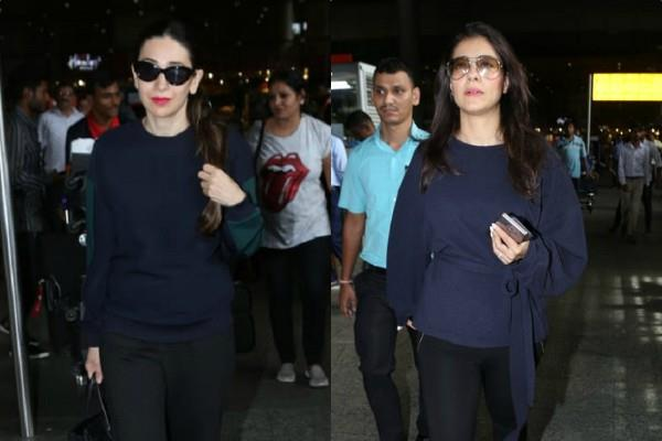 kajol karishma kapoor spotted at airport
