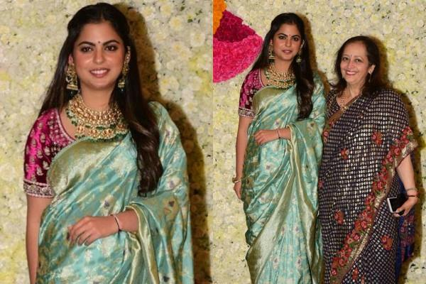 isha ambani looks beautiful as she attend diwali party with mother in law