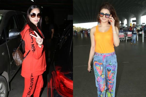 urvashi rautela and nora fatehi spotted at airport
