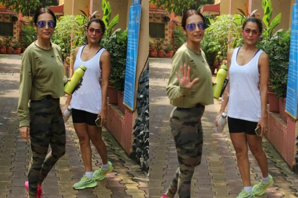 malaika arora spotted outside the gym with sisiter amrita arora