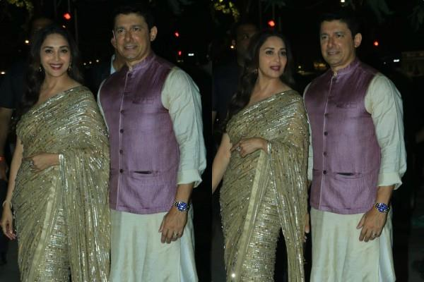 madhuri dixit spotted at amitabh bachchan diwali party with her husband