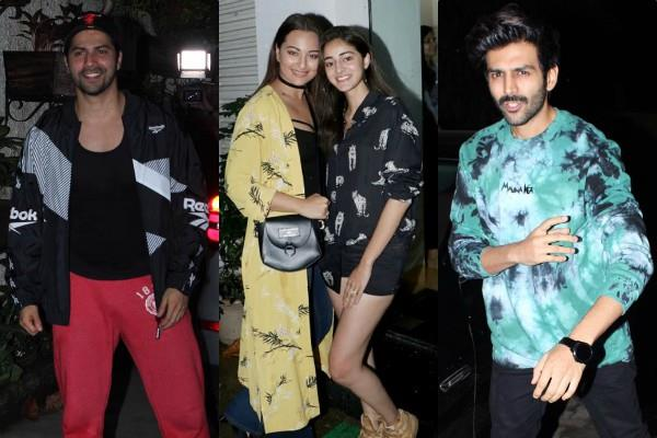 ananya pandey varun dhawan kartik aryaan and others spotted at film screening