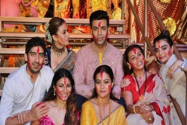 karan kajol and rani mukherjee celebrate sindur khela