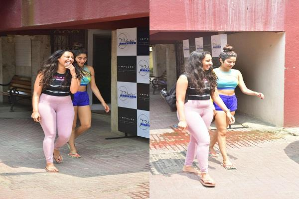 jahnavi spotted outside the gym with trainer looked stylish in short clothes