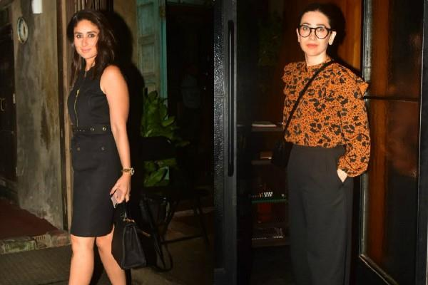 kareena kapoor karisma kapoor looks stunning as they step out for dinner