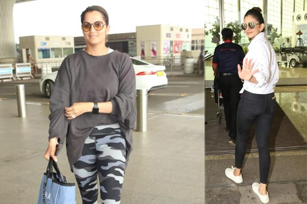 see in pics sania mirza and rakul preet singh airport look