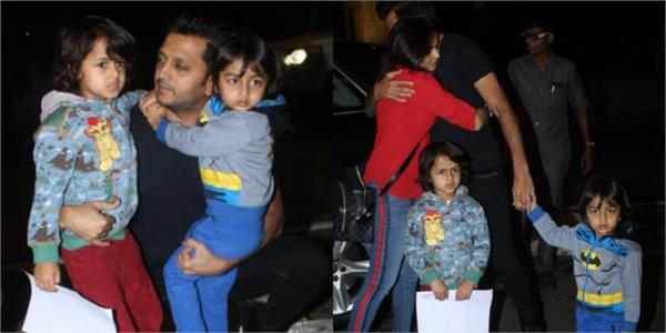 ritesh deshmukh reached to airport to kids and wife