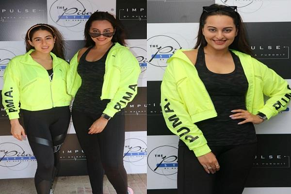 sara ali khan and sonakshi sinha twins in gym trainer party