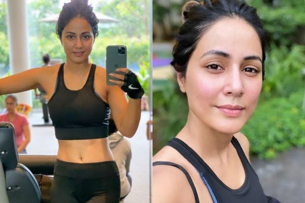 hina khan flaunts her toned abs in gym wear