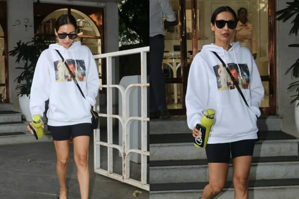malaika arora monochrome look outside the salon
