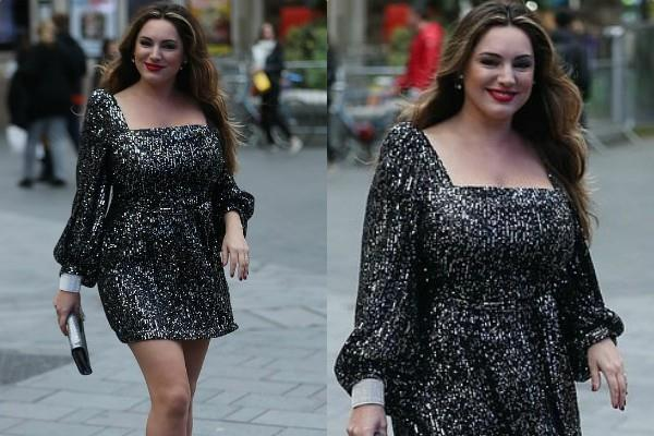 kelly brook looks beautiful in glitzy mini dress