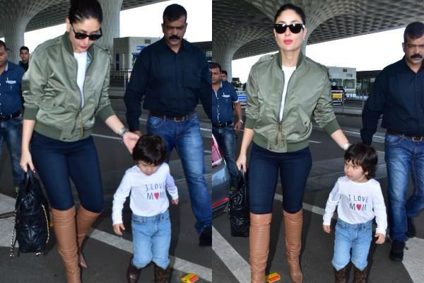 kareena kapoor and taimur ali khan spotted at airport to go to delhi