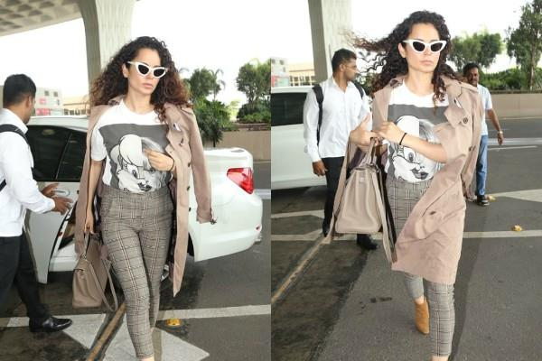 kangana ranuat trendy look at mumbai airport
