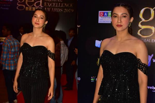 gauhar khan looks glamorous as she attend global excellence award