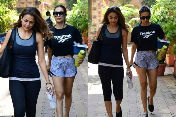 malaika arora and amrita arora looked outside the yoga class