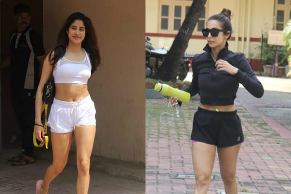 malaika arora and janhvi kapoor spotted outside the gym