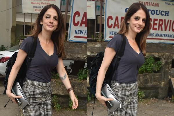 sussanne khan spotted outside the salon at juhu