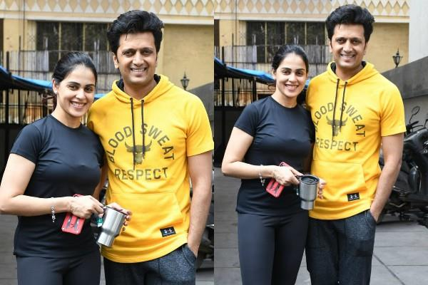couple riteish deshmukh and genelia d souza spotted at gym