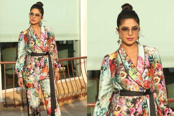 priyanka chopra looks gorgeous in floral print pant suit during the promotions