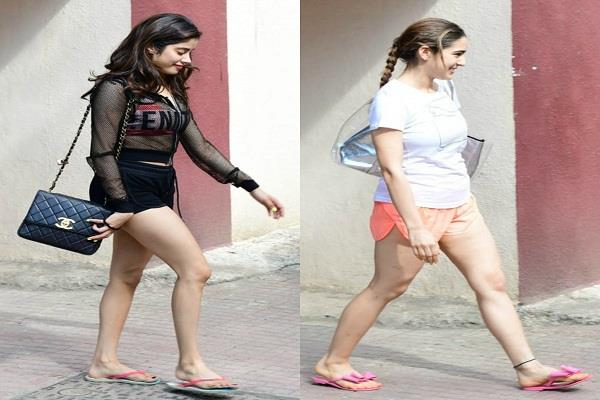 janhvi and sara spotted outside the gym in short dress