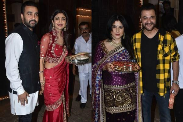 actress shilpa raveena and others stars celebrated karwa chauth at kapoor house