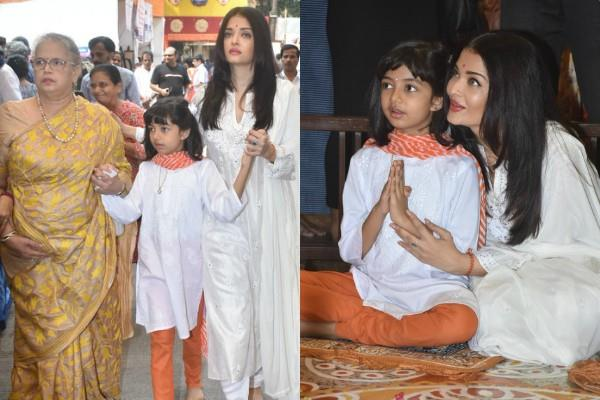 aishwarya rai attends durga pooja with daughter and mom