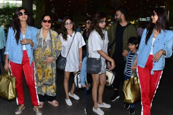 shilpa shetty returned from vacation with family and sister shamita