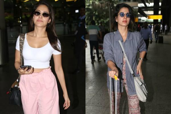 actress nushrat bharucha and kirti kulhari spotted at airport
