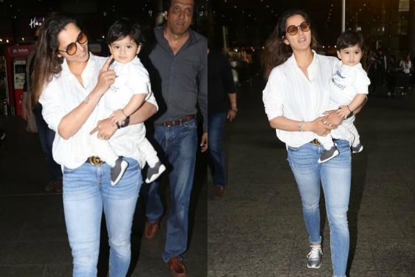 sania mirza stylish appearance at mumbai airport with son izhaan mirza malik