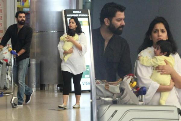barun sobti spotted at hyderabad airport with wife and daughter
