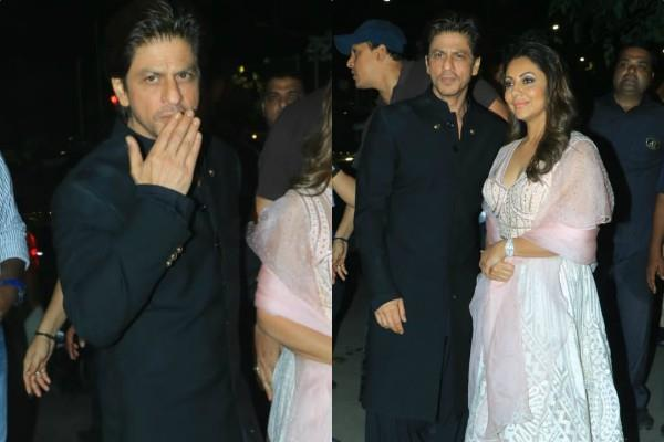 shahrukh khan spotted at amitabh bachchan diwali party with gauri khan