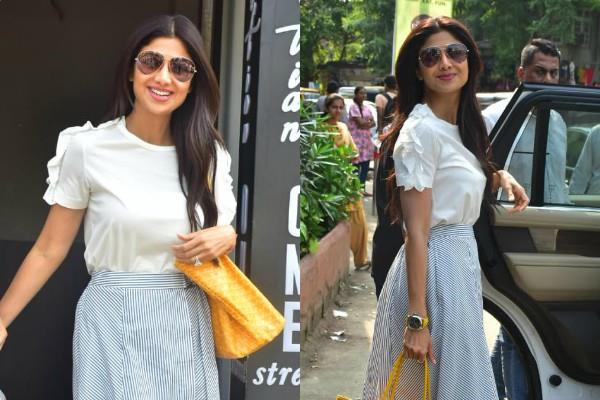 shilpa shetty spotted at the restaurant with her family