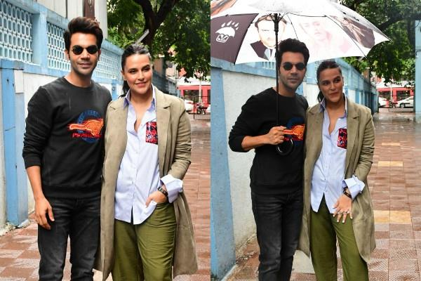 rajkumar roy looked with neha dhupia on the set of  no filter neha  show