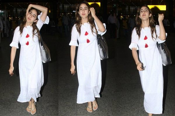 sara spotted at the airport looked beautiful in a white ethnic outfit